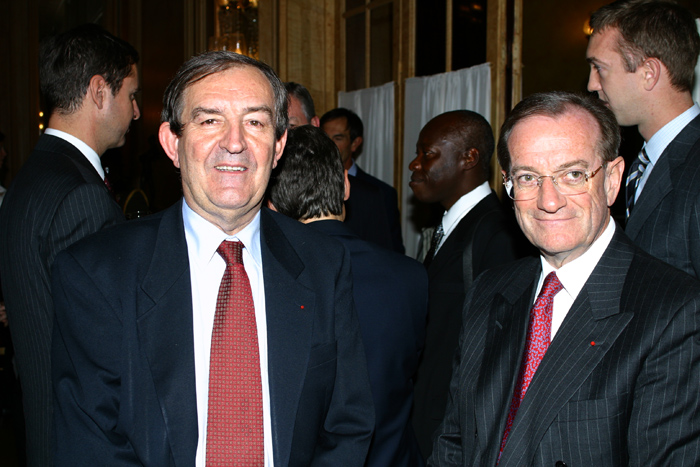 The prefect Michel Gaudin and the judge Bruguière, during a speech on anti-terrorism at the Vergennes Society, Paris
