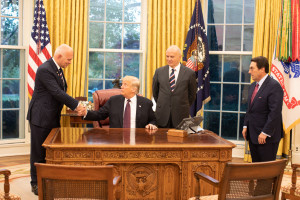 President Donald J. Trump meets with Jean-Louis Georgelin  and Henri Briard  and his attorneys Friday, Nov. 16, 2018, in the Oval Office  of the White House.(Official White House Photo by Joyce N. Boghosian)